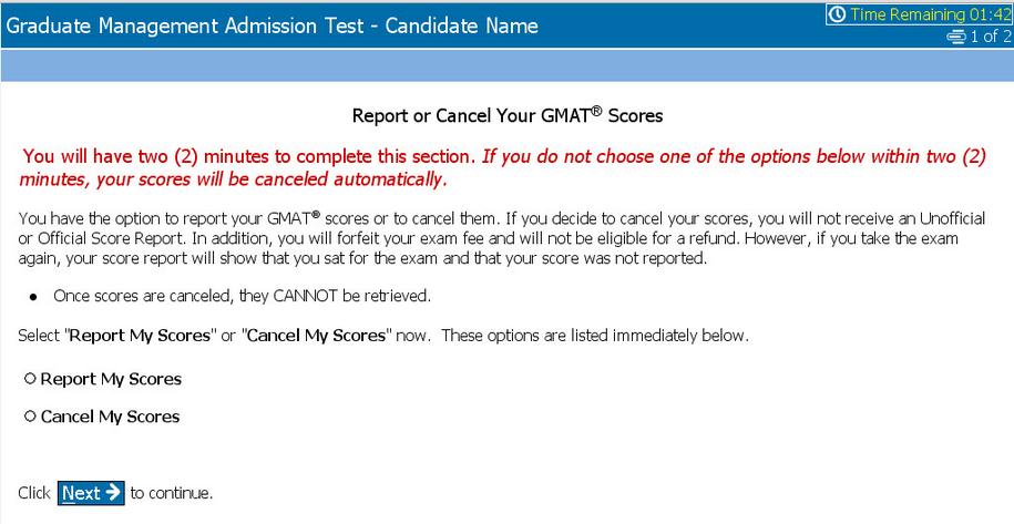 GMAT score reporting