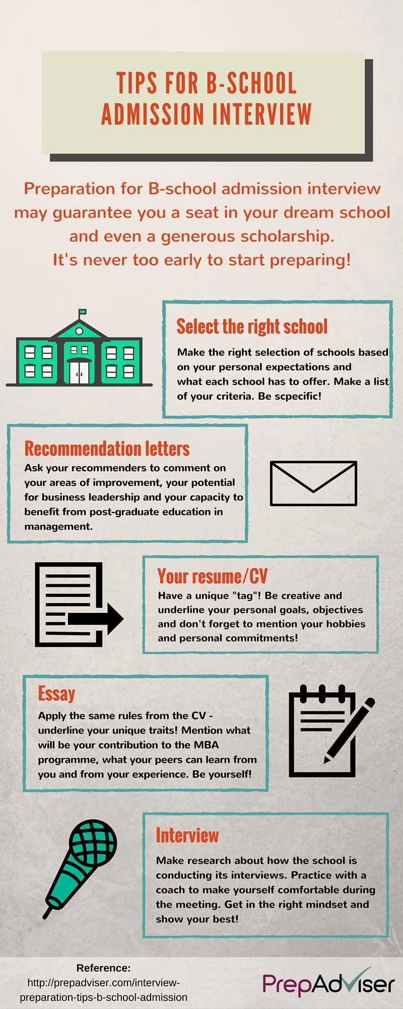 Interview Preparation Tips B-School Admission Infographic