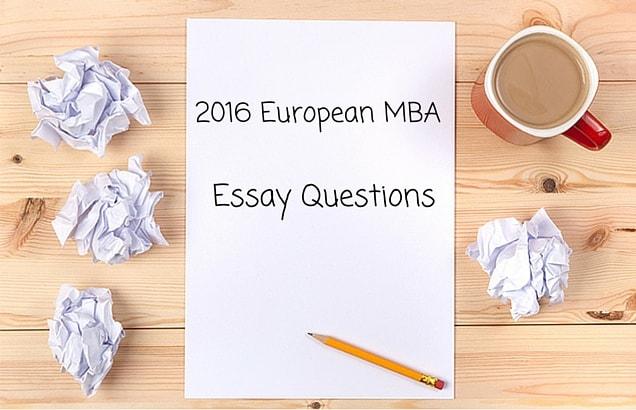 2016 European MBA Essay Question