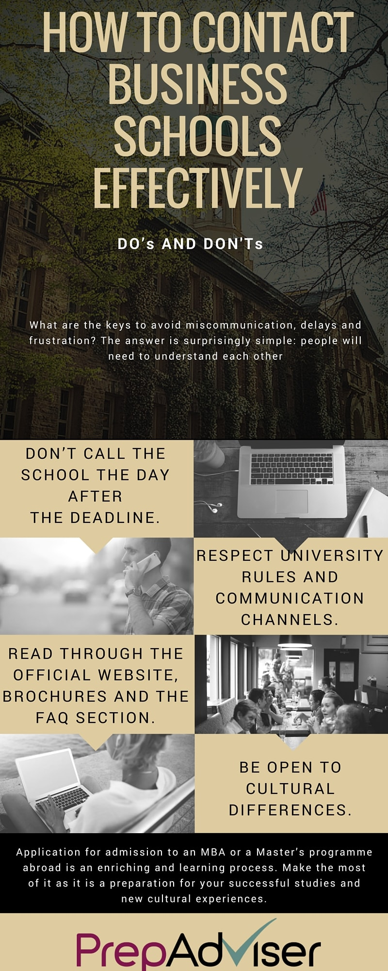 How to Contact Business Schools Effectively PrepAdviser Infographic