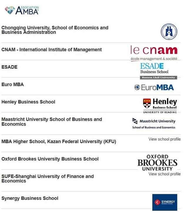 AMBA Accredited Blended MBAs