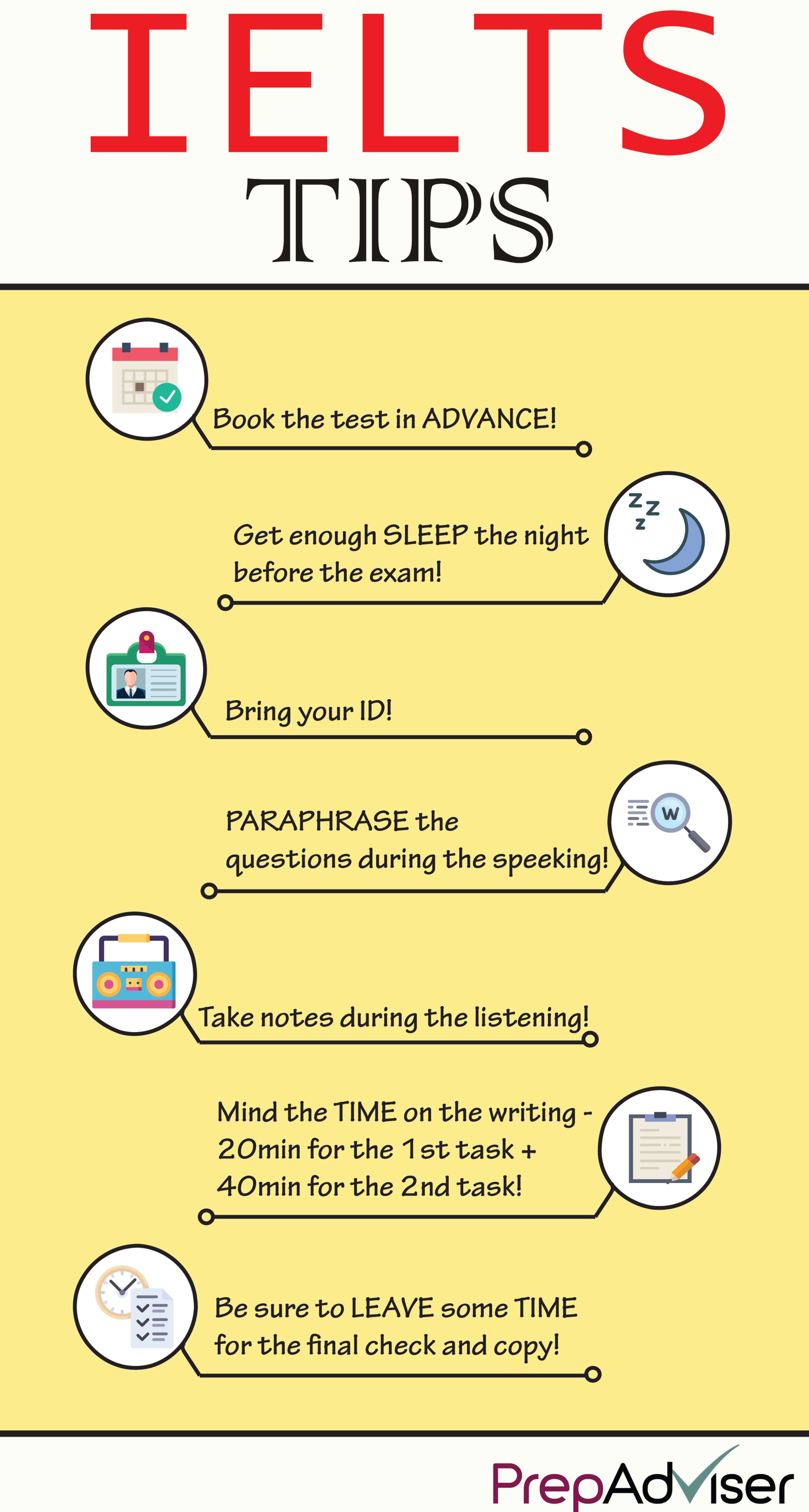 The IELTS Test tips Infographic